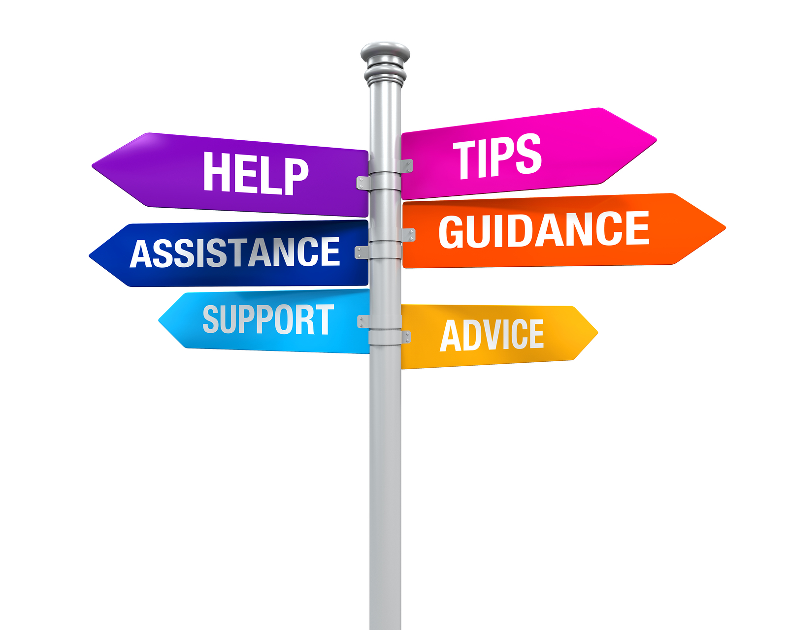 Sign Directions Support Help Tips Advice Guidance Assistance